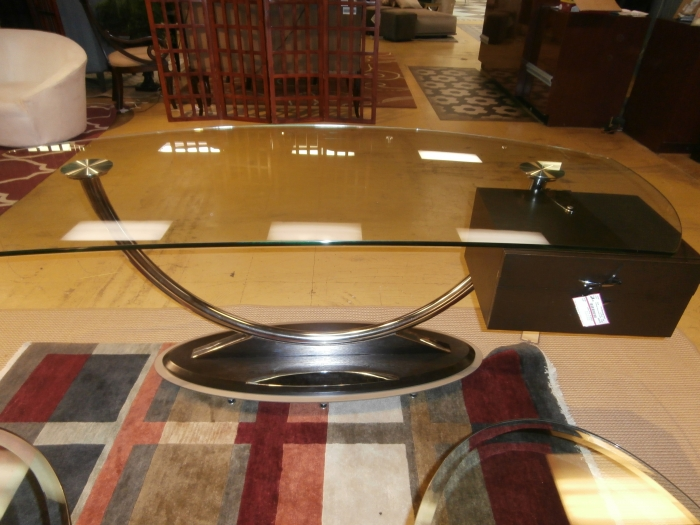 modern glass desk at the missing piece. Black Bedroom Furniture Sets. Home Design Ideas